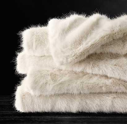 ULTRA FAUX FUR OVERSIZED BED THROW - CREAM - RH