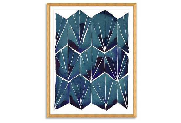 "Kate Roebuck, Blue Tile on Tan Print - 32"" x 40"" - Gold arquadia frame with Mat - One Kings Lane"