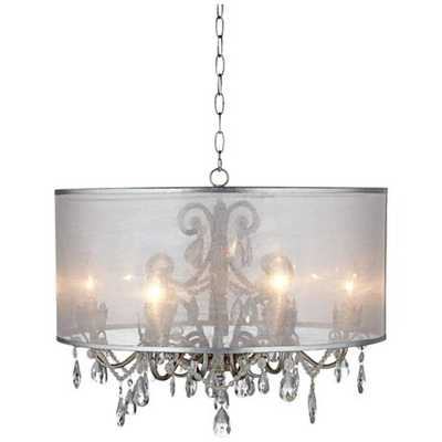 "Possini Euro Farina 23"" Wide Organza Silver Pendant Light - Lamps Plus"