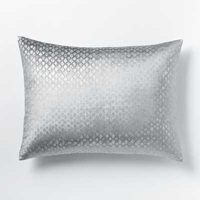 Cotton Luster Velvet Diamond Standard Sham, Platinum - West Elm