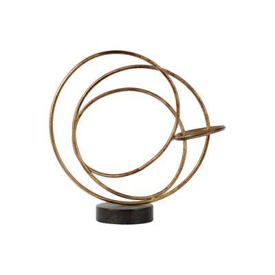 Large Rust Finish Goldtone Metal Round Intertwined Rings - Overstock