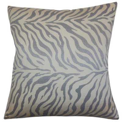 "Helaine Zebra Print Pillow Slate - 18"" x 18"" - Down Insert - Linen & Seam"