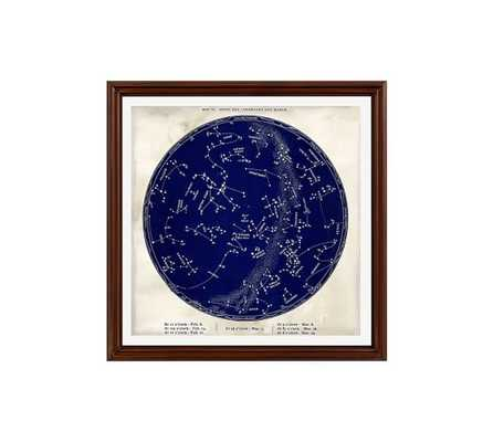 "VINTAGE ASTRONOMICAL FRAMED PRINT - BLUE - 18 X 18"" - no mat, wood gallery frame: black - Pottery Barn"