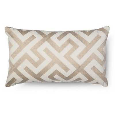 Embroidered Oblong Pillow - Cream - Polyester fill - Target