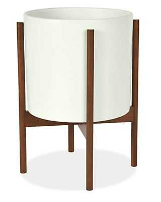 Case Study 11 diam 18h White Planter with Walnut Stand - Room & Board