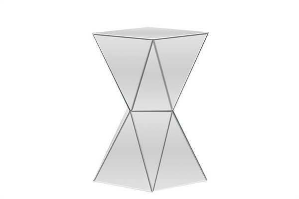 BAXTON STUDIO REBECCA CONTEMPORARY MULTI-FACETED MIRRORED SIDE TABLEONE (1) END TABLE - Lark Interiors