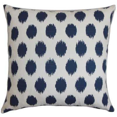 "Faustine Ikat Pillow Navy Blue - 18""sq. -  poly insert - Linen & Seam"