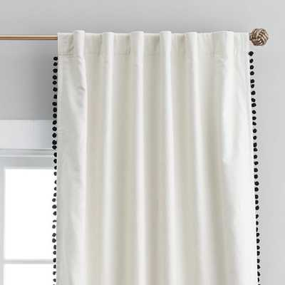 The Emily & Meritt Natural Linen Pom Pom Blackout Drape- 96'' - Pottery Barn Teen