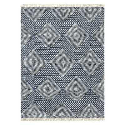 Traced Diamond Wool Kilim, Midnight, 8'x10' - West Elm