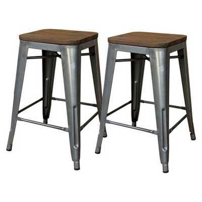 "Hampden Industrial Wood Top 24"" Counter Stool Metal - Threshold™ (Set of 2) - Target"