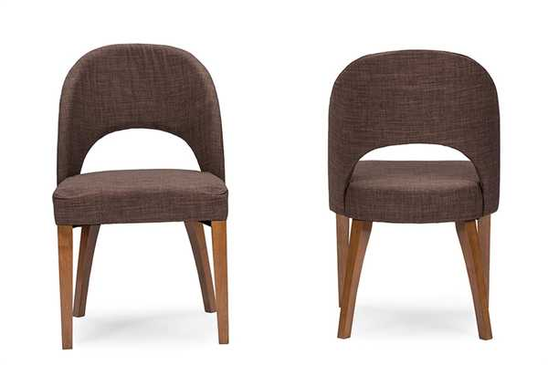 BAXTON STUDIO LUCAS MID-CENTURY STYLE BROWN FABRIC DINING CHAIRTWO (2) DINING CHAIRS - Lark Interiors