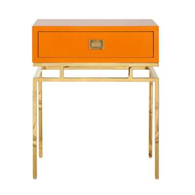 ORANGE LACQUER 1 DRAWER SIDE TABLE - Worlds Away