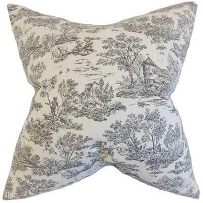 """Ramira Toile Pillow Charcoal - 18"""" x 18""""- Down Insert - Linen & Seam"""