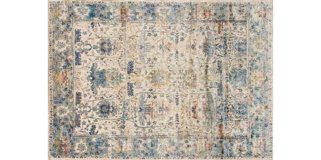 """AF-07 SAND / LT. BLUE - 5'3"""" x 7'8"""" - Loma Threads"""