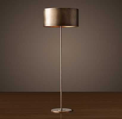 ANTIQUED METAL DRUM FLOOR LAMP - Vintage Brass - RH