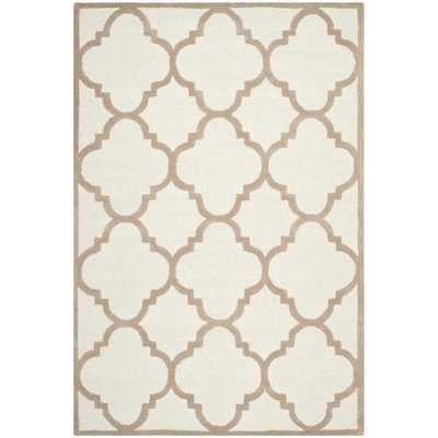 Handmade Moroccan Cambridge Ivory/ Beige Wool Rug (6' x 9') - RH