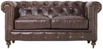 Gordon Tufted Loveseat - Brown Bonded Leather - Home Decorators