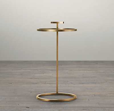 """1930S MARTINI SIDE TABLE - 14""""D - ANTIQUE BRASS - RH"""