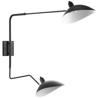 VIEW DOUBLE FIXTURE WALL LAMP IN BLACK - Modway Furniture
