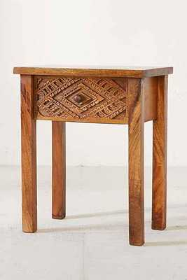 Amira Carved Wood Nightstand - Brown - Urban Outfitters