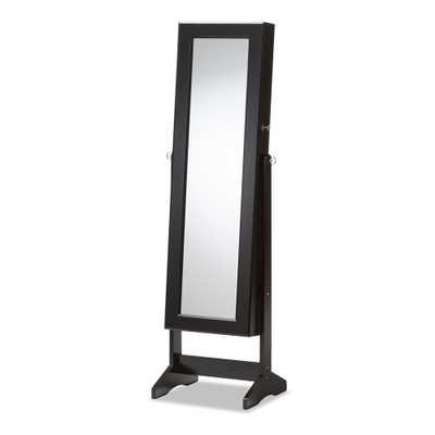 ALENA BLACK FINISHING WOOD FREE STANDING CHEVAL MIRROR JEWELRY ARMOIRE - Lark Interiors