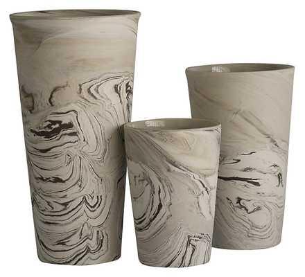 Asst. of 3 Ceramic Marbleized Vases - One Kings Lane