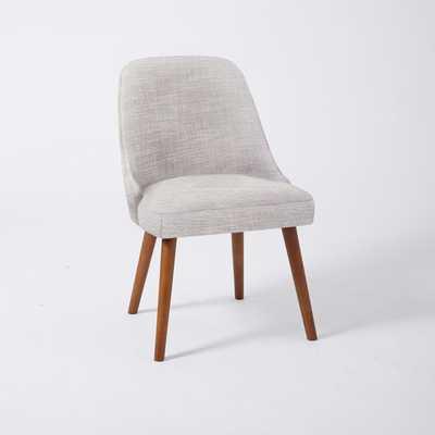 Mid-Century Dining Chair - Set of 4 - Platinum, Linen Weave - West Elm