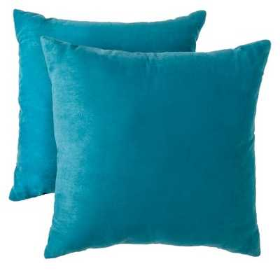 """Suede Pillow 2-Pack - Teal, 18"""" x 18"""", With Insert - Target"""