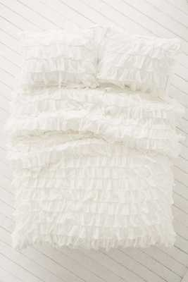 Waterfall Ruffle Duvet Cover - Ivory - KING - Urban Outfitters