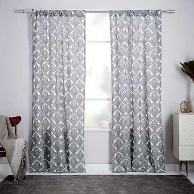 """Cotton Canvas Fleur Printed Curtain - 96"""" x 48""""w - West Elm"""