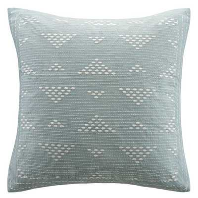 """Cario Embroidered Cotton Throw Pillow, Blue - 18"""" H x 18"""" W - Polyester Fill - AllModern"""