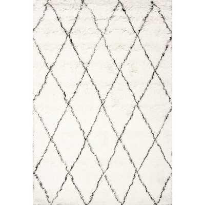 Handmade Moroccan Trellis Wool Shag Rug - 5' x 7' - Overstock