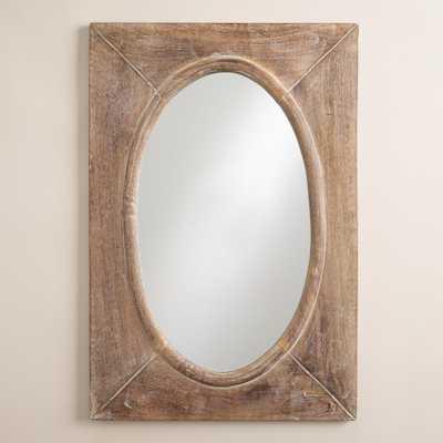 Rustic Wood Shandi Framed Oval Mirror - World Market/Cost Plus