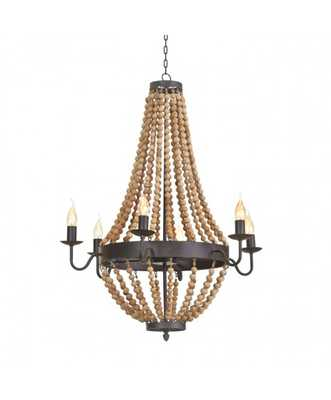 TYLER BEADED CHANDELIER, NATURAL - Lulu and Georgia