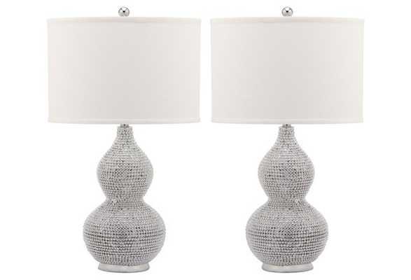 Nicole Beaded Lamp Set, Silver - One Kings Lane