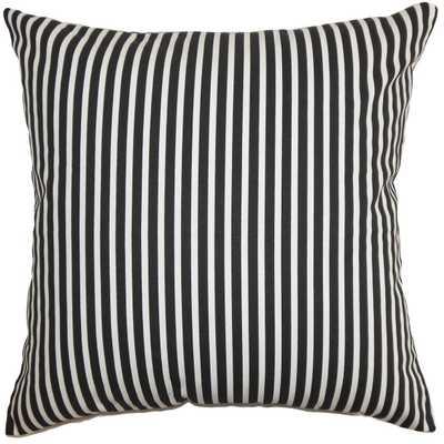 "Elvy Stripes Pillow Black White - 12"" x 18"" - Down insert - Linen & Seam"