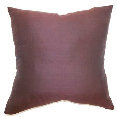 "Uzma Solid Pillow Eggplant - 18"" x 18"" with Polyester Insert - Linen & Seam"