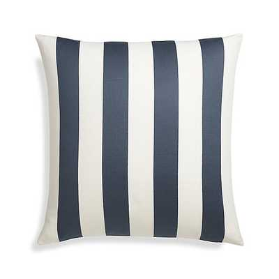 "Olin 20"" Ivory-Indigo Blue Striped Pillow with Feather-Down Insert - Crate and Barrel"