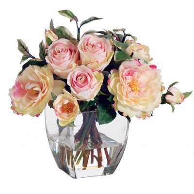 Pink & Cream Rose Buds in Square Nouveau Glass Vase - Wayfair