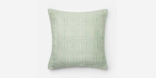"""P0339 AQUA / IVORY Pillow - 22"""" x 22"""" with Down Insert - Loma Threads"""