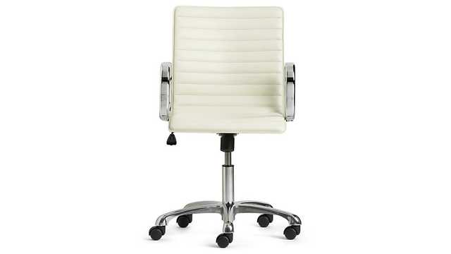 Ripple Ivory Leather Office Chair - Crate and Barrel