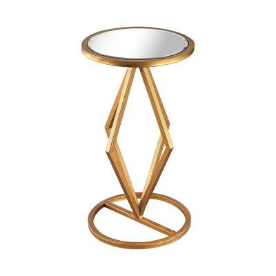 Vanguard Side Table In Gold Leaf And Clear Mirror - Rosen Studio