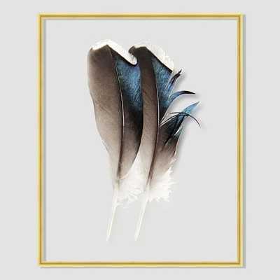 """Still Acrylic Wall Art -Mallard Feathers -   8"""" x 10""""- Gold/Yellow Frame -No Mat - West Elm"""