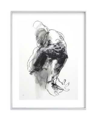 "Drawing 340 - Grasping Man - 18"" x 24"" - Brushed Silver Frame - White Border - Minted"