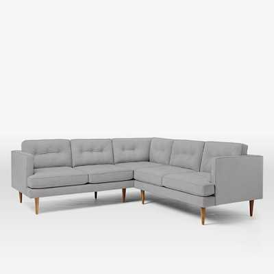 Peggy Mid-Century L-Shaped Left Arm Sofa + Right Sectional Sofa - Heathered Crosshatch, Feather Grey - West Elm