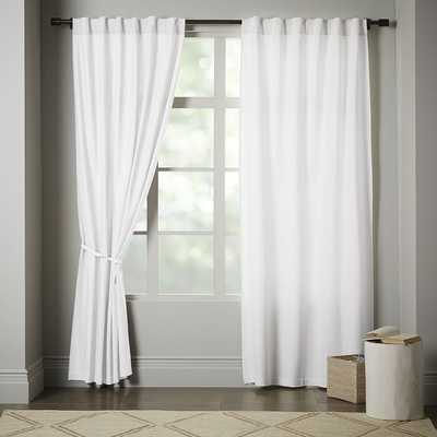 "Opaque Linen Pole-Pocket Window Panel - 108"" - White - Unlined - West Elm"