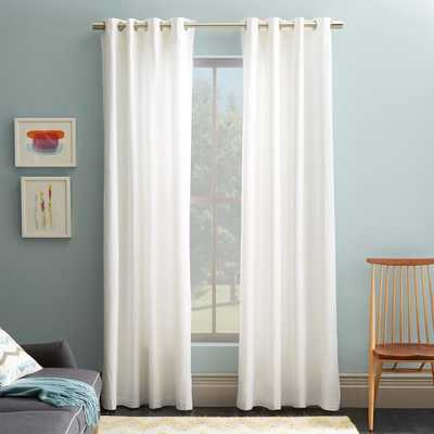 "Cotton Canvas Grommet Curtain, 96""l x 48""w, White - West Elm"