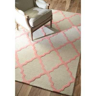 Hand-hooked Alexa Moroccan Trellis Pink Wool Rug (5' x 8') - Overstock