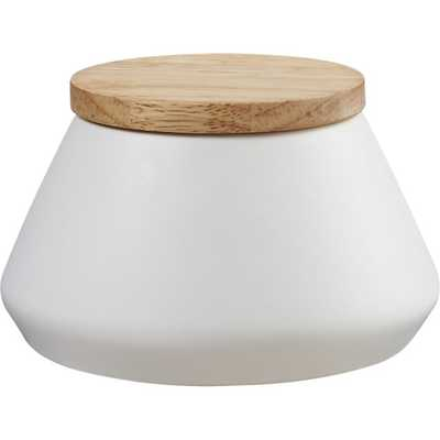 Neutral small white canister - CB2