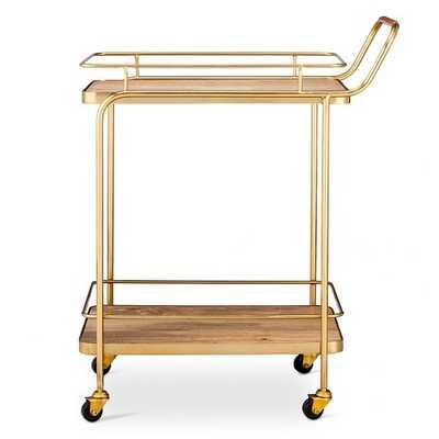 Metal, Wood, and Leather Bar Cart - Target
